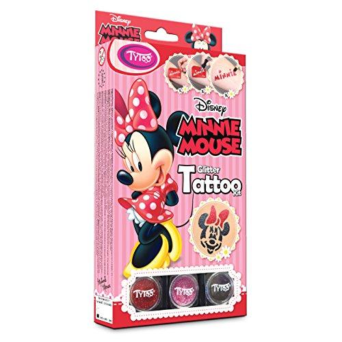 Disney Minnie Mouse Glitzertattoos, 12 Amazing Schablonen – Hypoallergen, ohne Tierversuche hergestellt – für 8–18 Tage, temporäre Tattoos