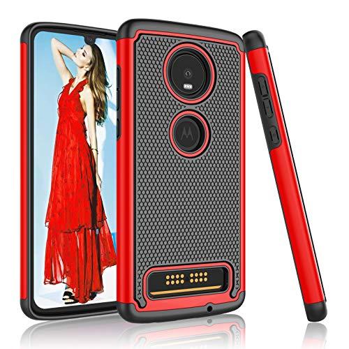 Moto Z4 Hülle, Motorola Z4 (6,4 Zoll) Hülle, Moto Z4 Play Hülle, Njjex [Nveins] Impact Hybrid Dual Layers Hartplastik + Soft Silikon Rubber Armor Defender Stoßfest Slim Phone Cover für Moto Z4 [Rot]