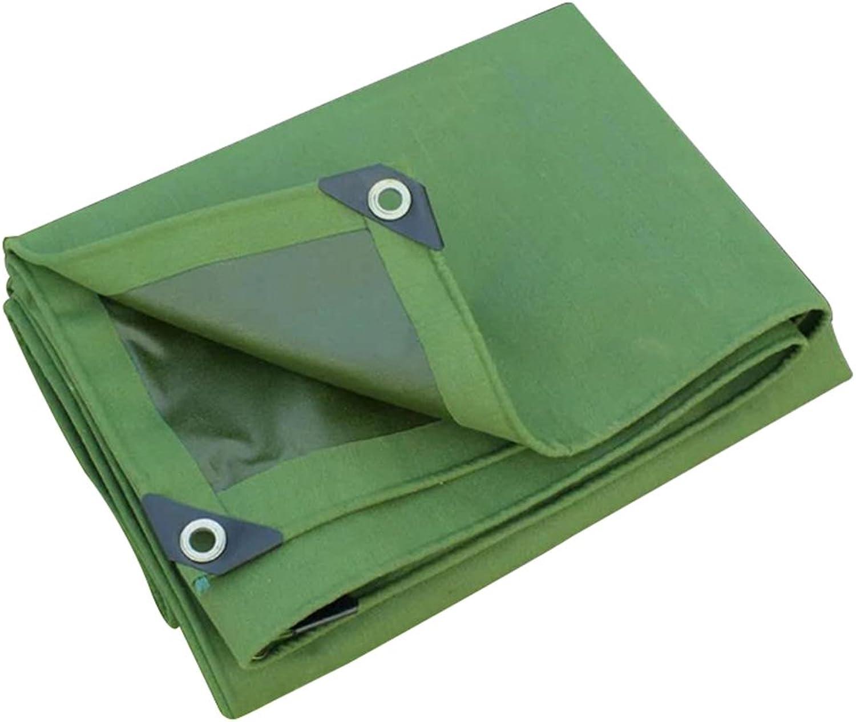 ZEMIN Tarpaulin Waterproof Sunscreen Tent Sheet Roof Windproof Predection Canvas Polyester, Green, 600G M2, 12