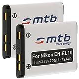 2X Batería EN-EL10 para Nikon Coolpix S230, S500, S510, S520, S570, S600. (Ver descripción)