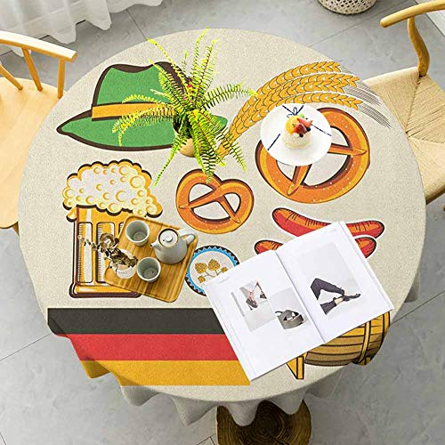 UETECH Tulle Round Tablecloth German Oktoberfest Symbols Wheat Sausage Beer and Pretzels Colorful Bavarian Arrangement Multicolor Fabric Round Tablecloth Diameter 54