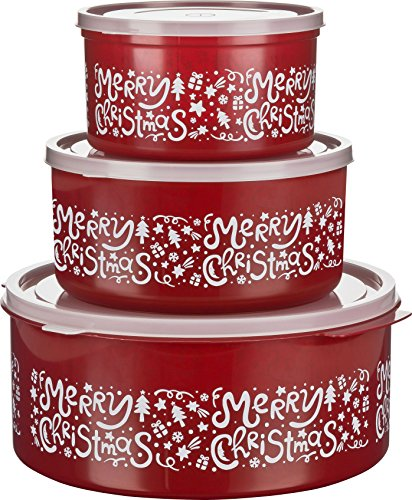 MiraHome Keksdosen Plätzchendose 3er Set rund 1,5l/2,5l/5l Rot Merry Christmas Austrian Quality