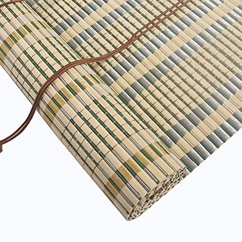 Roller blind Estores de Bambú Natural,Persianas Enrollables de Madera,Cortinas Opacas 80% Bloque UV para Balcón/Pérgola,Cortinas Privacidad Protección con Ganchos y Tirador Lateral (90x240cm/36x95in)