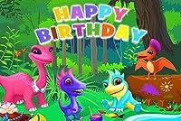 漫画の恐竜の写真の背景9x6ft / 2.7x1.8mジャングルリトル恐竜の色子供テーマパーティー誕生日バナーの背景写真スタジオブースの小道具BJLSST1