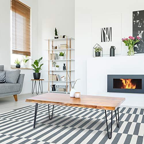 WOMO-DESIGN Moderner Couchtisch 110x60x39cm rechteckig natürliche Massivholz Akazienholz schwarzen Hairpin Legs Metall Handgefertigte Wohnzimmertisch Sofatisch Beistelltisch Holztisch für Wohnzimmer