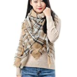 QBSM Women's Large Square Plaid Blanket Shawls and Wraps, Classic Soft Warm Poncho Tartan Scarf, Gold