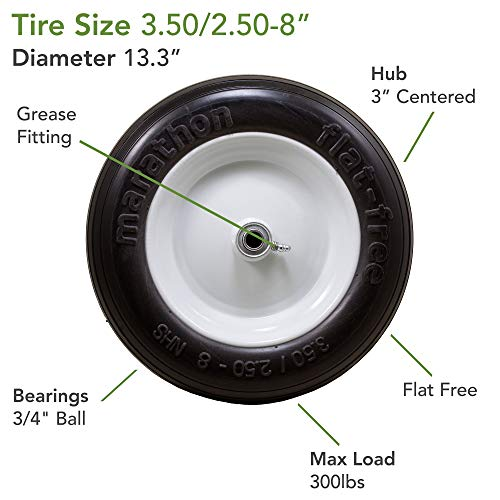 Marathon Tires Flat-Free Wheelbarrow Tire - 3/4in. Bore, 3.50/2.50-8in.