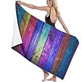 Florane Charakteristische Holzplatte Strandtuch Polyester Badetuch Schnelltrocknende Stranddecke, Handtücher