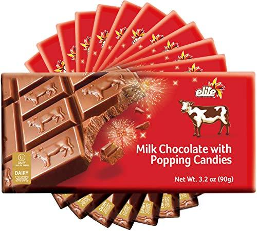 Elite Premium Milk Chocolate Bar With Popping Candies, 3oz (12 Pack) 14% Pop Rocks