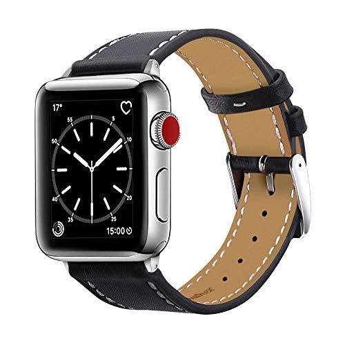 BRG コンパチブル apple watch バンド,本革 ビジネススタイル コンパチブル アップルウォッチバンド コンパチブルアップルウォッチ4 apple watch series5/4/3/2/1 レザー製(38mm/40mm,ブラック)
