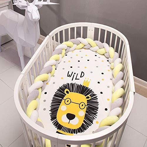 PetKids Protector de cuna para bebé 3 trenzado, cojín de serpiente trenzado, transpirable, parachoques, terciopelo, protección para cama de bebé recién nacido