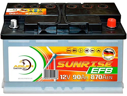 Verbraucherbatterie EFB 12V 90Ah Photovoltaik Boot Versorgungs Solar Batterie statt 80Ah 100Ah