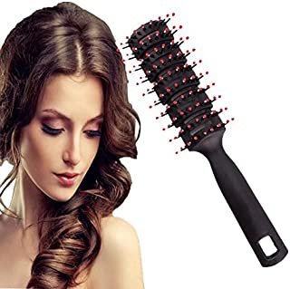 Vent Brush - 1 Pcs Detangling Brush Massage Hair Comb with 10-Row Large Tunnel Vent, Anti Static Hard Bristles Blow Dryer Hair Brush, Vented Wet Hair Brush for Men & Women (Black)