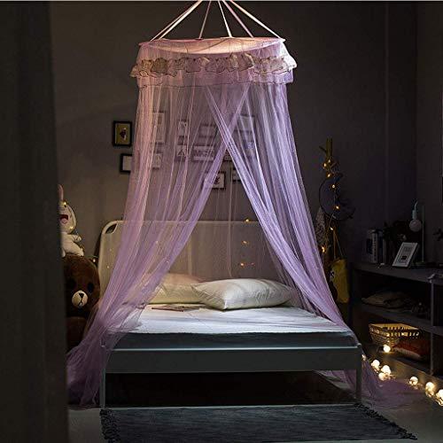 WLD Toldo de la cama Mosquitera Protección contra mosquiteros Mosquitera Cúpula redonda De pie Sin instalación Princesa para bebé doble individual Altura 250 cm, rosa,Rosado
