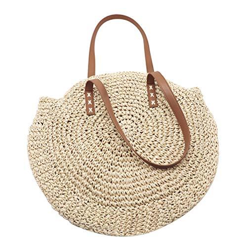 Là Vestmon Sac de plage tressé tressé de plage circulaire en plein air Sac de sac tressé sac de voyage à double usage
