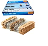 220 ohm 1/4w 5% Carbon Film Resistor, Set of 100 Resistance