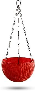 Garden Needs 100% Virgin Plastic Euro Plastic Basket | Set of 4 Hanging Planter, (22cm x 22cm x 24cm, Maroon)