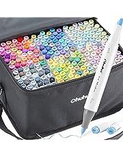 216-Color Art Markers Set, Ohuhu Dual Tip, Borstel & Beitel Schets Marker voor Kinderen, Kunstenaar, Studenten, Borstel Markers voor Schetsen, Volwassen Kleuring, Kalligrafie, Tekening en Illustratie Markers