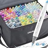 Juego de 216 marcadores de arte de color Ohuhu de doble punta, pincel y cincel marcador de boceto para niños, artista, estudiantes, marcadores de pincel para bosquejos, colorantes, caligrafía, dibujo