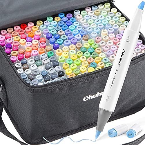 Ohuhu - Set di 216 pennarelli a doppia punta, pennello e scalpello, per bambini, artisti, studenti, pennarelli per schizzi, per colorare (adulti), per scrittura, disegni e illustrazioni