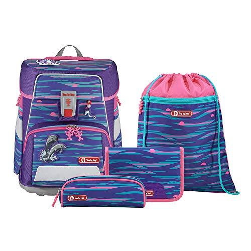 """Step by Step Schulranzen-Set Space """"Shiny Dolphins"""" 5-teilig, lila-pink, Delfin-Design, ergonomischer Tornister mit Reflektoren, höhenverstellbar mit Hüftgurt für Mädchen 1. Klasse, 20L"""