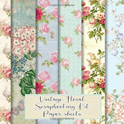 Vintage floral scrapbooking kit paper sheets: kit in a book for creating your own sketchbooks - Emphera elements for decoupage, journaling, ... scrap book albums (Scrap book paper kits)