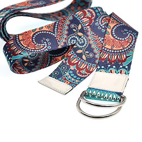 Sosila Yogagurt, Yoga Gurt aus Baumwolle, mit D-Ringen, Metallringe Stabiler Verschluss, für bessere Dehnung, Größenverstellbar, 3,8x183 cm (Blau)
