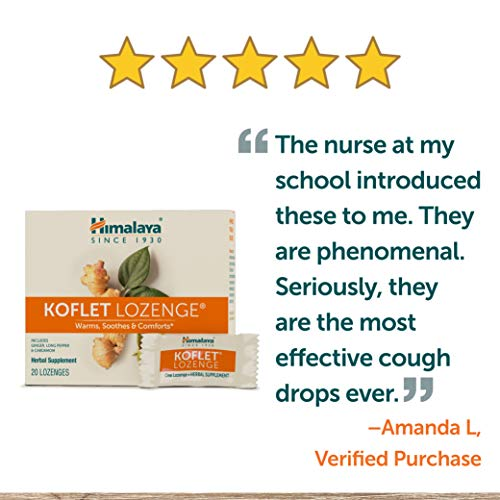 Himalaya Koflet Lozenges, Natural Herbal Cough Drop for Warming Relief and Soothing Comfort, 130 mg, 20 Lozenges