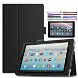 EpicGadget Case for Amazon Fire HD 10 Inch Tablet (9th/7th Generation, 2019/2017 Released) - Lightweight Folio Folding Stand Cover PU Leather Case + 1 Screen Protector and 1 Stylus (Black)