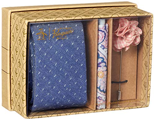 Original Penguin Men's 3-Piece Pattern Tie, Pocket Square & Lapel Pin Box, Navy, One Size