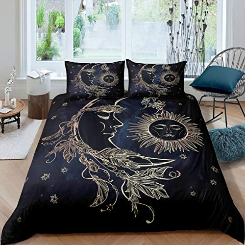 feelyou Bohemian Duvet Cover Set Twin Golden Cute Sun and Moon Boho Bedding Set for Kids Teens Adults Soft Comforter Cover with Zipper Closure, Decorative Quilt Cover with 1 Pillowcases, 2Pcs