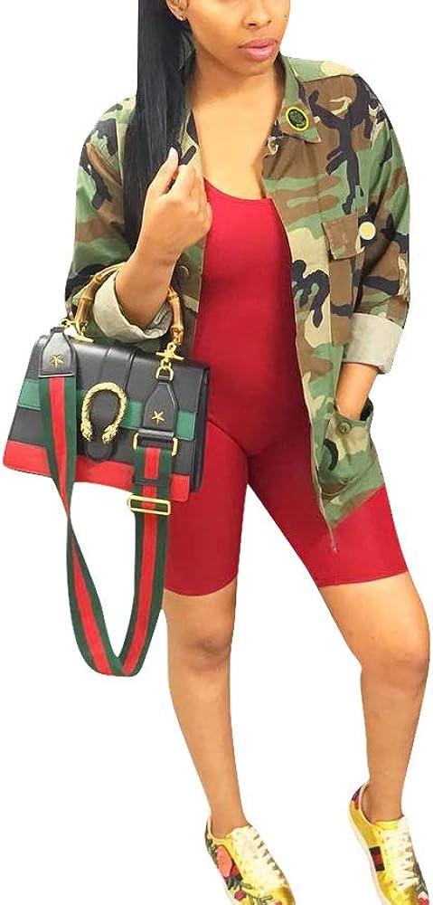 cnFaClu Womens Fashion Military Camouflage Letters Printed BF Coat Safari Jacket