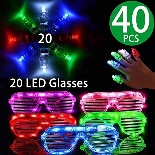 LED Glasses Package,20 Pack Light Up Glasses 6 Color LED Plastic Sunglasses Shutter Shades and 20...