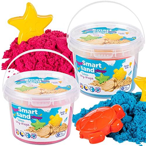 GenioKids Smart Sand Sensory Play Modeling Indoor Arena Plastilina, 1 kg, color rosa y azul