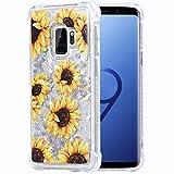 Flocute Galaxy S9 Case, Galaxy S9 Glitter Floral Case Flower Bling Sparkle Floating Liquid Soft TPU Cushion Luxury Fashion Girly Women Cute Case for Samsung Galaxy S9 (Sunflower)