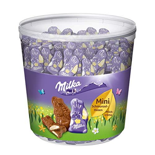 Milka Mini Schmunzelhasen 1 x 1505g, Schokoladenhasen aus Alpenmilch Schokolade mit Füllung