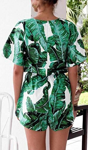 WSPLYSPJY Women Summer Casual V-Neck Leaves-Print Short Sleeve Jumpsuit   s Rompers Green L