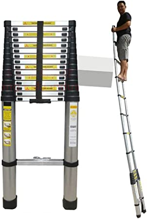 Escaleras Telescópicas Multifunción Escalera telescópica de aluminio extra alta de 20 pies, escalera recta de extensión plegable de usos múltiples de 6.2 m, para techo de ático de ingeniería, carga de: Amazon.es: