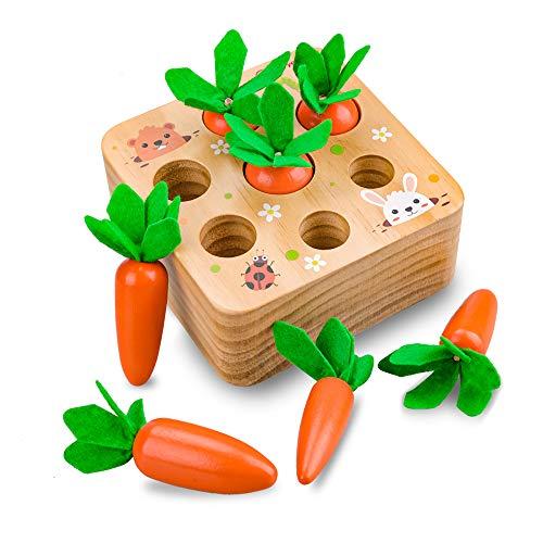 Juguetes Bebes 1 Año, Juguetes Niños 2 3 4 Años, Montessori Zanahoria Madera Educativos Bebés 6 9 12 18 Meses Apilamiento Clasificación Regalo