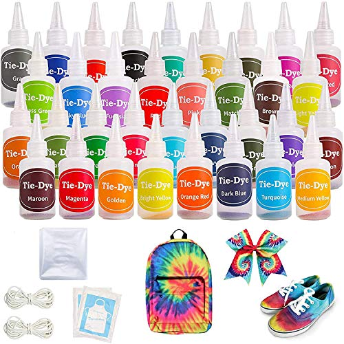 Ucradle Tie Dye Kit, 36 Stück Mode Stoff Farbstoff Kit DIY Textilfarbe, Permanente One-Step Tie Dye Art Set mit Gummi Band und Schürze, Krawattenfärbe-Set für Kinder,...