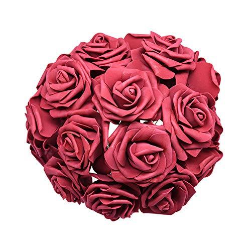 TrusMe 24 x Künstliche Rosensträuße aus Schaumstoff, Rosen, Blumen, Brautsträuße, für Hochzeits- und Hochzeitsdekoration, Hochzeitsdekoration L bordeaux