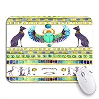Mabby マウスマット - 240 x 200mm,Ancient Egyptian Cats and Scarab Beetle Wings Egypt Watercolor,for Office and Gaming,Computer Mousepad Non-Slip Rubber Base