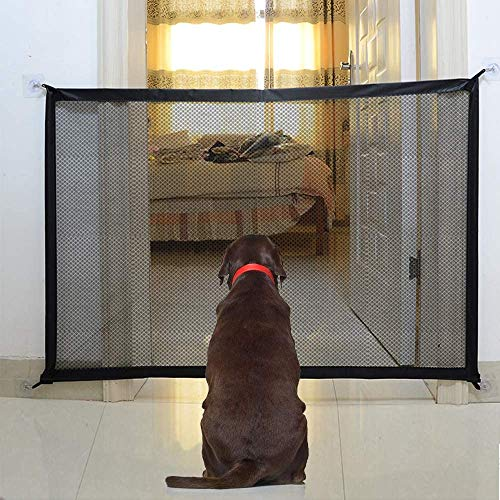 Magic Gate for Dogs, Portable Folding Stair Gate Safe Guard Pet Isolation Net Indoor and Outdoor Safety Gate Install Anywhere for Dogs Cats - 110x72cm