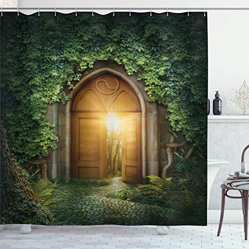 """Ambesonne Fantasy Shower Curtain, Sunbeams Through The Mysterious Half Opened Wooden Entrance with Greenery, Cloth Fabric Bathroom Decor Set with Hooks, 70"""" Long, Green Brown"""