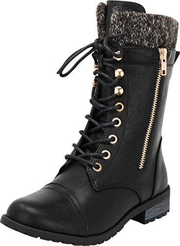 Cambridge Select Women's Round Toe Military Lace Up Knit Sweater Combat Boots,8.5 B(M) US,Black Pu