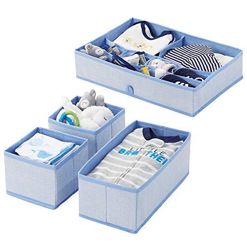 mDesign Juego de 4 cajas organizadoras en polipropileno para habitaciones infantiles – Cestas de tela para accesorios de bebé – Organizadores para armarios de niños o para cajones – azul