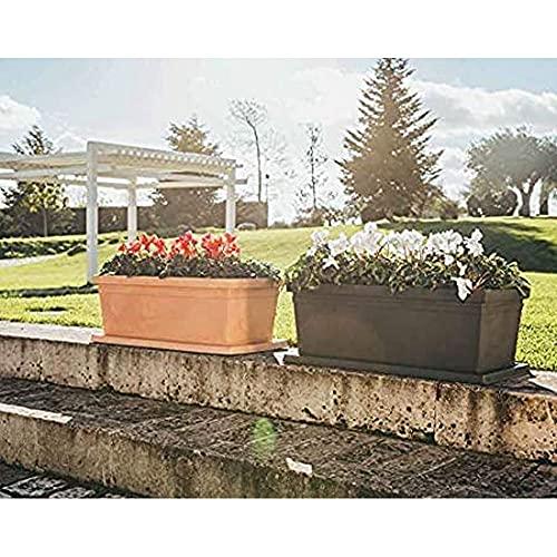 MONACIS Fioriera Liscia Rettangolare Rome 100 cm Color Terracotta