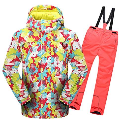 Lvguang Jungen & Mädchen Berg Wasserdicht Warm Skibekleidung Winddicht Regen Schnee Kapuzenjacke & Skihose (Orange#3, Asia M)