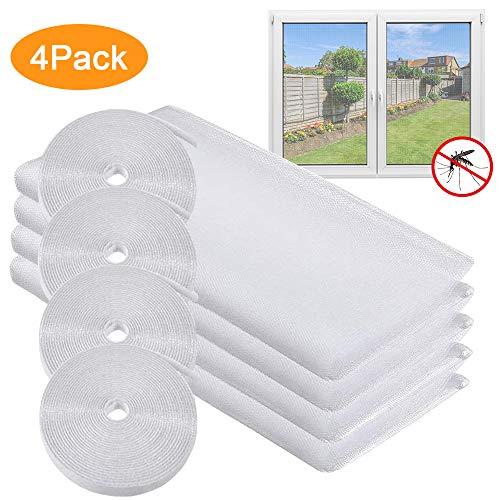 Fliegengitter Fenster, 4 Pack Insektenschutz Fliegengitter Fenster, Universal Mückengitter Fenster, Mücken- und Insektenschutz mit 4 selbstklebenden weißen Rollen, 130 * 150cm