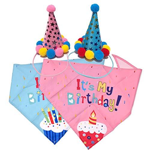 Liwein Hunde Geburtstag Halstuch, 4 Stück Hund Halstuch Blau Rosa Baumwolle Dreieckstuch Hunde-Halstuch und Hut für Mädchen Kleine Große Haustier Katze Geburtstag Dekorationen